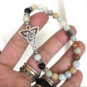 Celtic knot triquetra amazonite bead bracelet